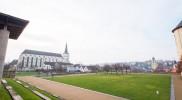 冬でも芝生の手入れが行き届いている聖十字架発見教会の庭